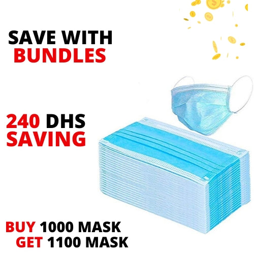 Work Bundle - Disposable 3 Layer Mask - 1000 Pcs + 100 Pcs Free
