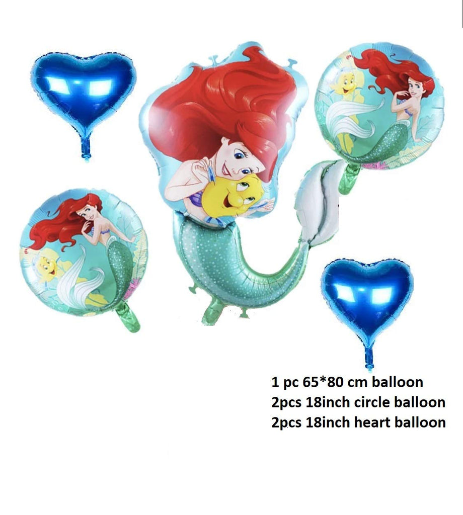 Mermaid Ariel princess foil Balloons baby girl birthday party decorations kids