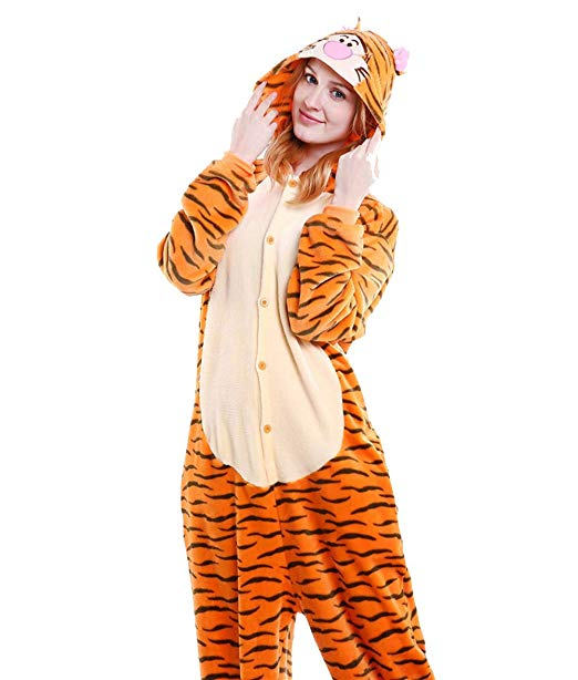 AJ Costumes- Adults Tiger Animal Cosplay Costume Pajamas