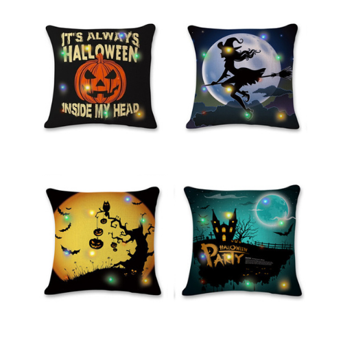 Shopzinia 4-Pack Happy Halloween Square Throw Pillow Case Cotton Linen Cushion Cover