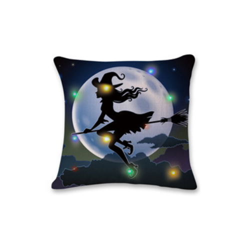 Happy Halloween Square Throw Pillow Case Cotton Linen Cushion Cover witch