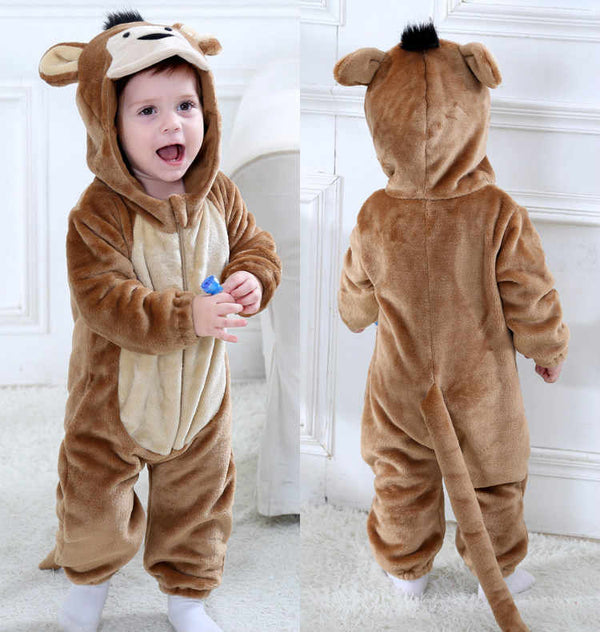 Flannel Baby Animal Monkey Kigurumi Pajamas Clothing Onesie Costume