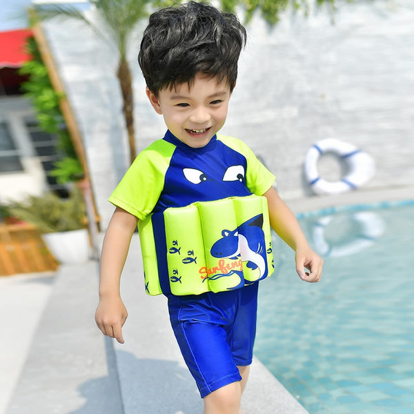Kids life vest baby life jacket boy girl child Sunscreen Cartoon Floating survive kid children water swimwear Bubble swimsuit