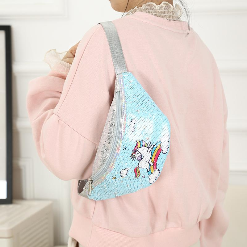Cartoon Kid Waist Bag Cute Fanny Pack for Baby Girl Unicorn-Blue