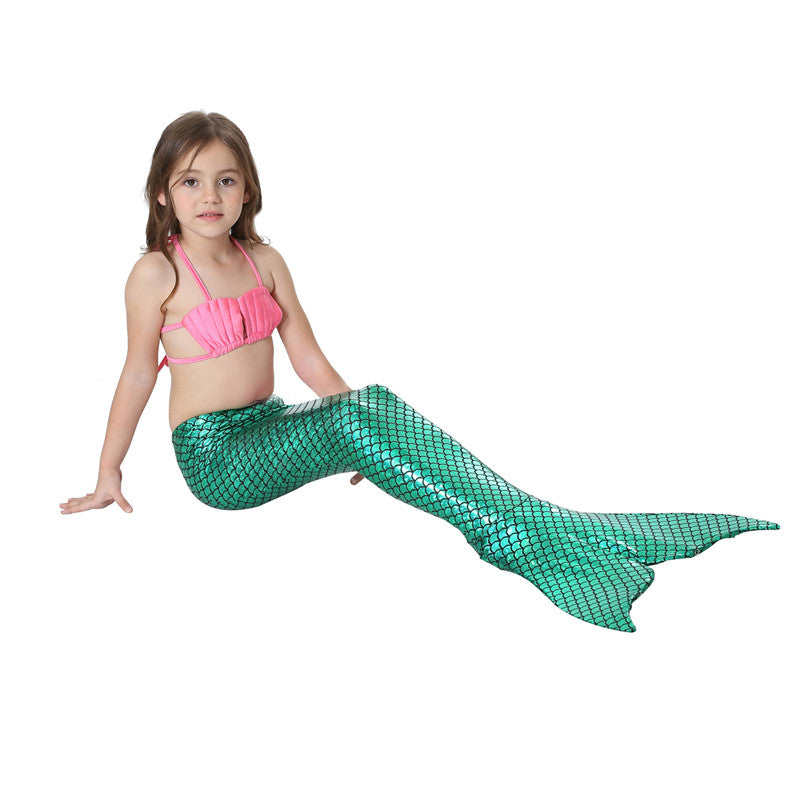 Swimsuit Tail Kids Green with Pink Set For Girls-AJ-COSTUMES