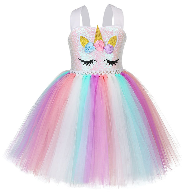 New sequined Unicorn popular gauze customized hand-tied Tutu Dress Girl Pengpeng dress Princess Dress headdress unicorn dress