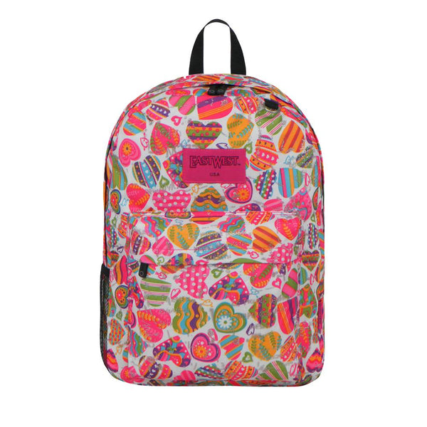 East West U.S.A. Simple Print Pattern Backpack -Heart - Shopzinia Egypt
