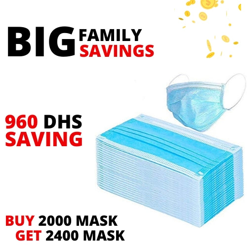 Family Bundle  - Disposable 3 Layer Mask - 2000 Pcs + 400 Pcs Free
