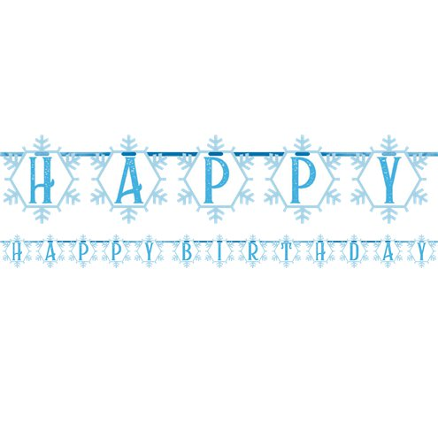 Snow Queen Happy Birthday Banner 2.8m