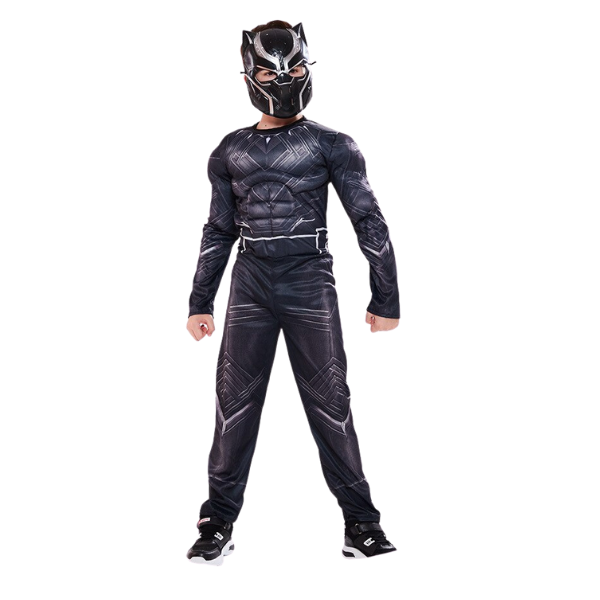 Black Superhero Halloween Cosplay Fantasy Carnival Costume and Mask