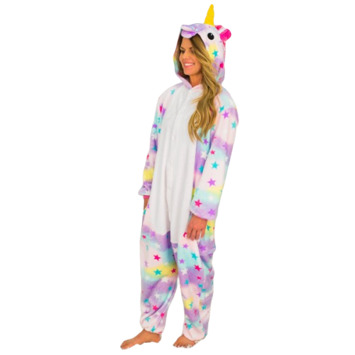 AJ Costumes-Adult Unicorn Multi  Rainbow Unicorn Kigurumi
