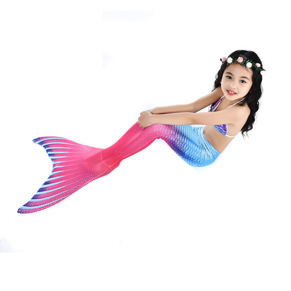 Swimsuit-4 Pcs Girls Mermaid Tails Purple -Beach Wear for Girls-AJ-COSTUMES