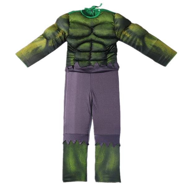 Incredible Costume Child Muscle Green Outfit Jumpsuit Halloween New Year Carnival Cosplay For Kids Boys