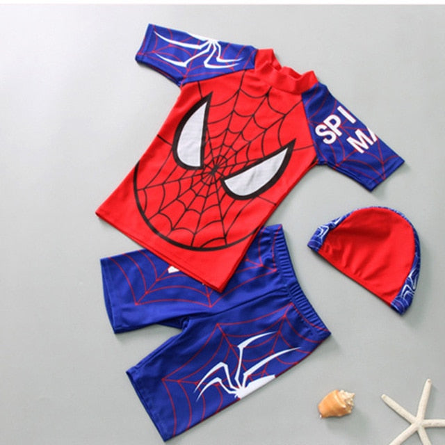 shopzinia Spiderman Kids Boys One Piece Swimming Diving Surfing Suit Swimwear Top + Pants + Hat Summer Beach Wear Children Swimsuit