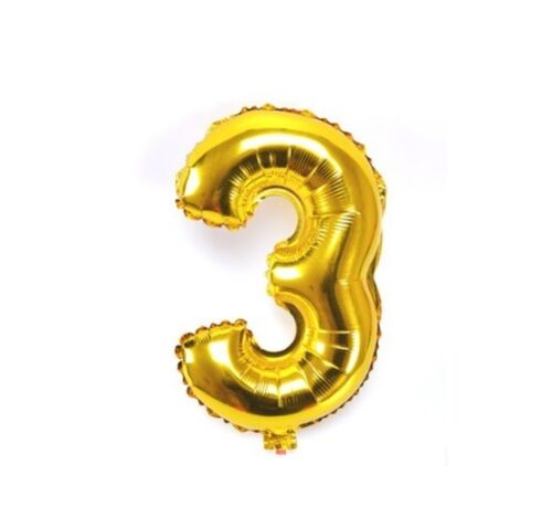 Number 3 Gold Party Foil Balloon 16inch
