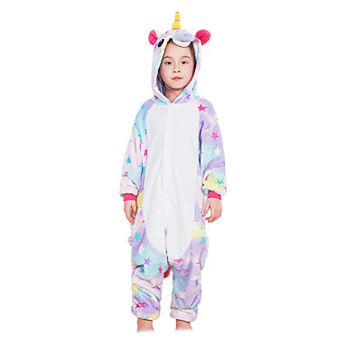 AJ Costumes- Kids Unicorn Multi Rainbow Unicorn Kigurumi