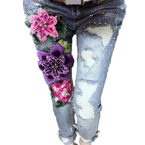 3D With Embroidered Flares Lady Ripped Trousers