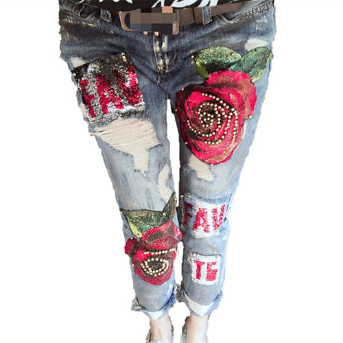 Jeans Club Style Holes Ripped Jeans femme New Fashion