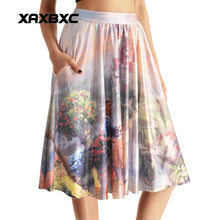 0007 Sexy Girl The 3D Midi Knee Skirts With Pocket