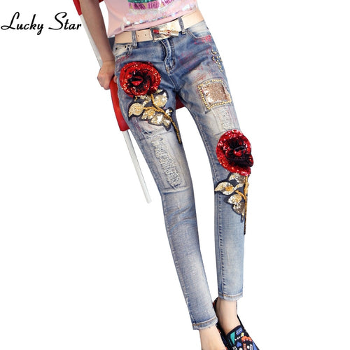 3D Slim Style Rose Sequined Skinny Jeans Plus Size D261