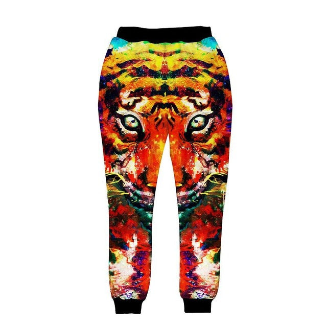 3D big tiger joggers elastic waist long trousers