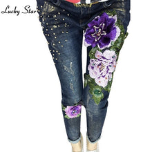 3D Flowers Beading Pencil Denim Stretch Jeans D331