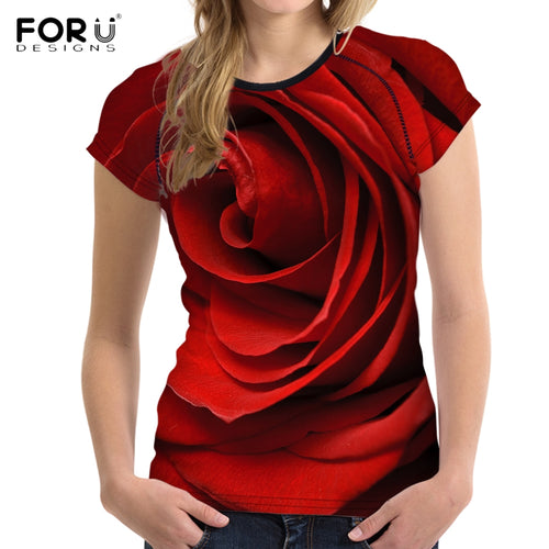 3D Red Rose Print shirt Short Sleeve Crop tops