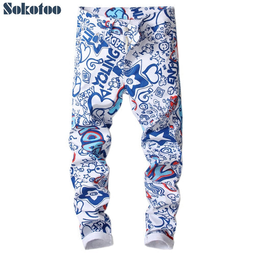 letters 3D colored blue white slim skinny denim pants