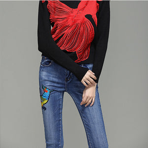 3D big bid bird long woman elasticity jeans