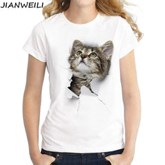 T shirt women Naughty Cat 3D Lovely O-Neck Short