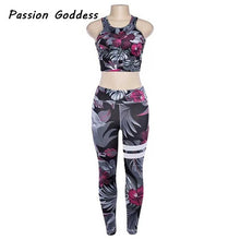 2 Piece TrackSuits Fitness 3D Printed Crop Top Leggings