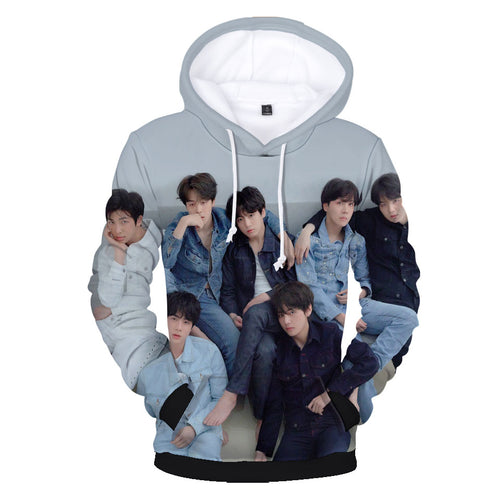 New BTS Turn 3D Print Loose Hoodie Clothing