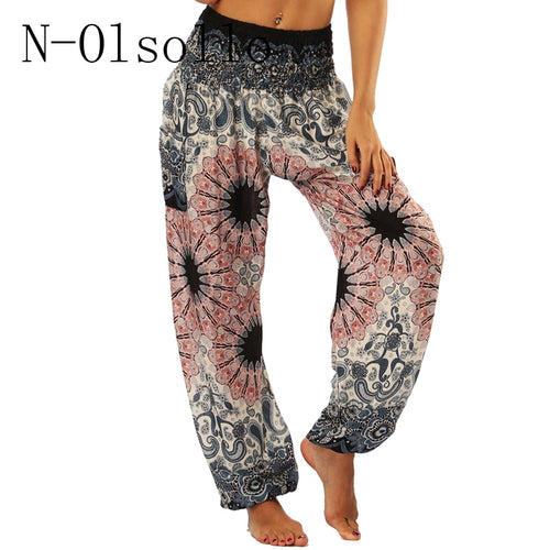 Pants High Waist Beach Pants Loose Pocket Casual Trousers