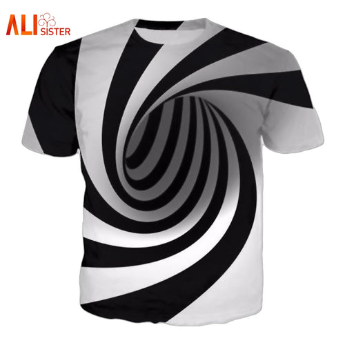 Black And White T Funny Short Tees Tops 3D T-shirt