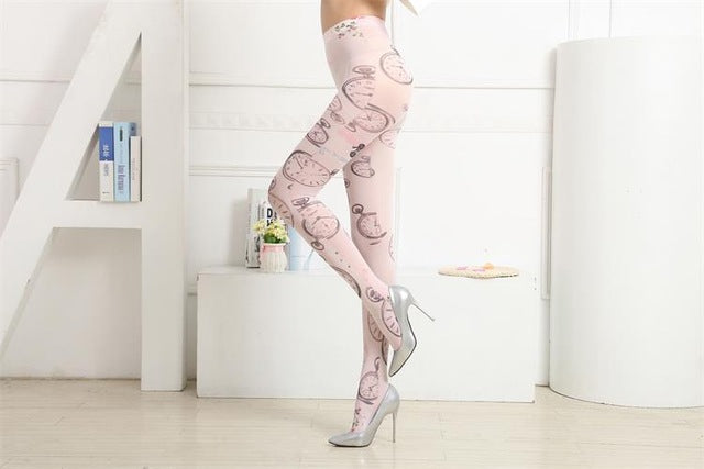 3D Clock Sweet Fashion Tights Printed Pantyhose
