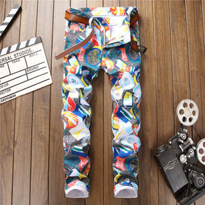 2018 3D Hip Hop Slim Print Club Distressed Jeans