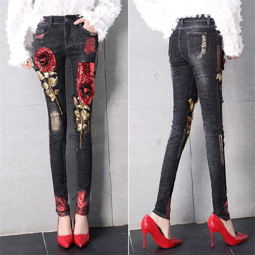 3D Jeans Club Style Street Holes Ripped Jeans femme