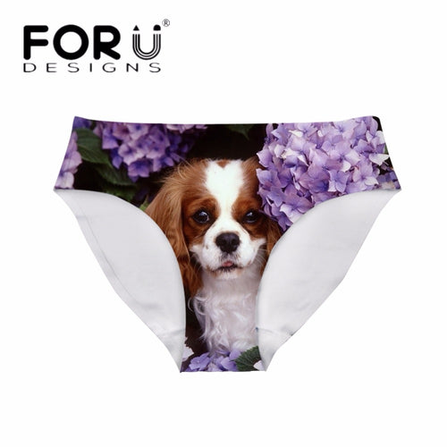Sexy 3D King Dog Print Girls Stylish Fitness Brief