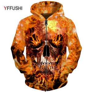 3d Hip Hop Full Zipper Jacket Men Plus Size 5XL