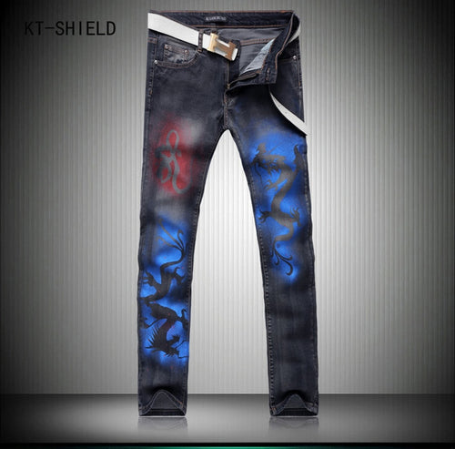 High Jeans Men Slim Fit Fashion Brand Trousers