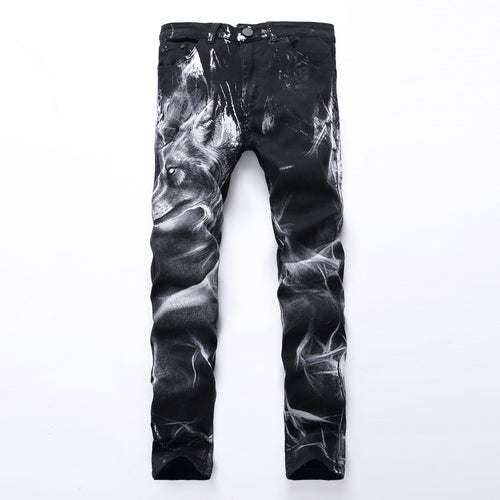 Men Hip Wolf Jeans For Men Denim Pants Plus Size