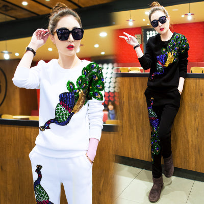 long Sleeve Cotton 3d Tops long Pants two piece set