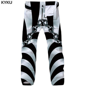 3d Black Punk Rock Mens Trousers Casual Overalls