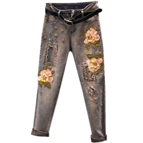 size Jeans Stretch Fashion Embroidered Jeans women