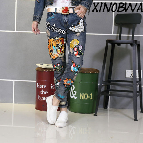 New Gold 3D Pants Female Casual Rhinestone Trousers