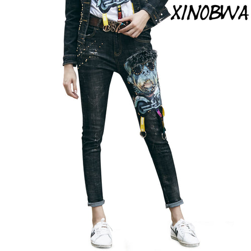 High Jeans Pants Casual Gold Painting Long Trousers