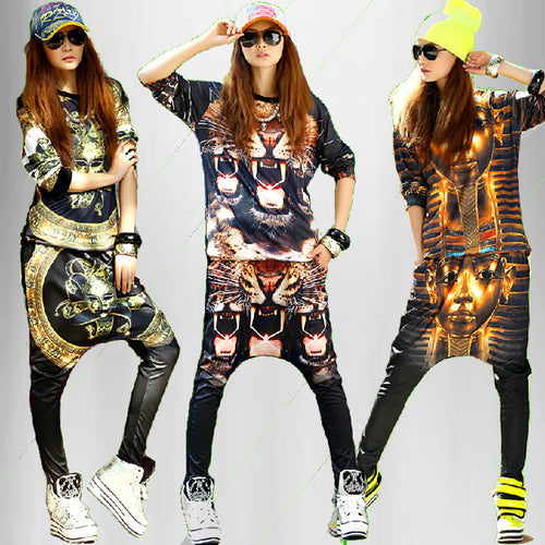 Hip Hop 3D Galaxy Emoji T Shirt and Harem Pants