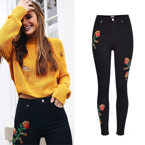 3D Rose Flower Elastic Jeans Stretch Trousers S670