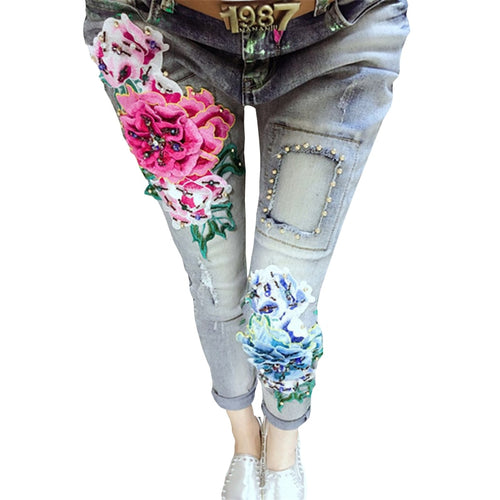 3D Jeans 2018 Jeans Woman Casual Skinny Beading Pants