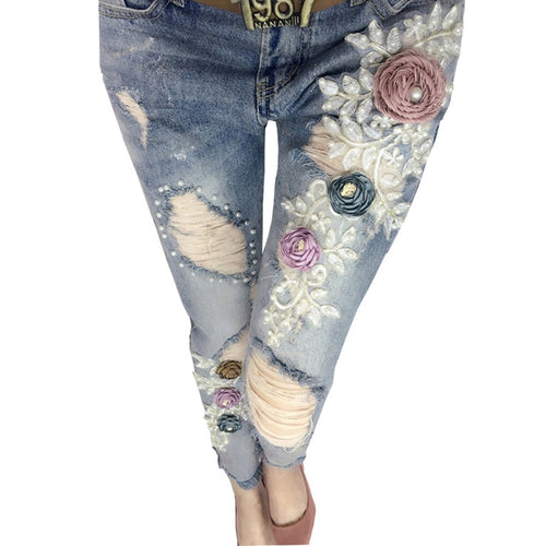 Lace Style New Pearl Stitch Elegant Fashion Trends Jeans